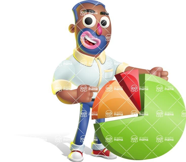 Male African American Cartoon Vector 3D Character AKA Jackson Blue - Chart