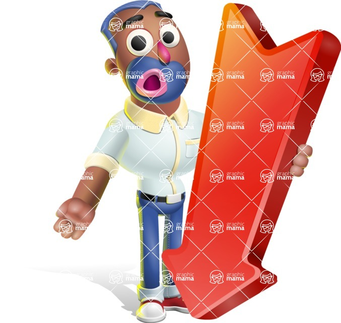 Male African American Cartoon Vector 3D Character AKA Jackson Blue - Pointer 3