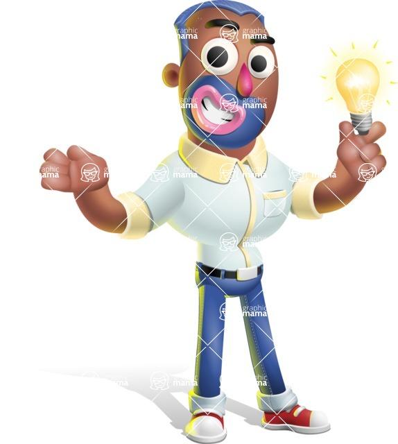 Male African American Cartoon Vector 3D Character AKA Jackson Blue - Idea 1