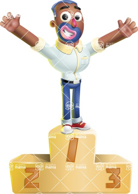 Male African American Cartoon Vector 3D Character AKA Jackson Blue - On Top