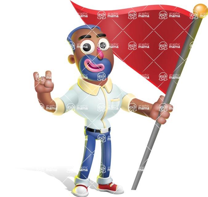 Male African American Cartoon Vector 3D Character AKA Jackson Blue - Checkpoint