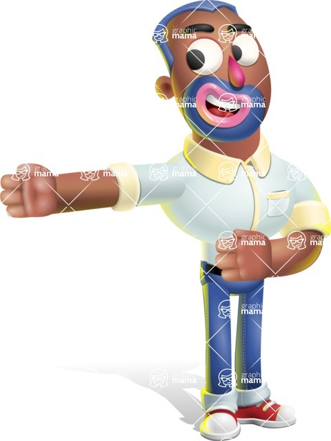 Male African American Cartoon Vector 3D Character AKA Jackson Blue - Show 2