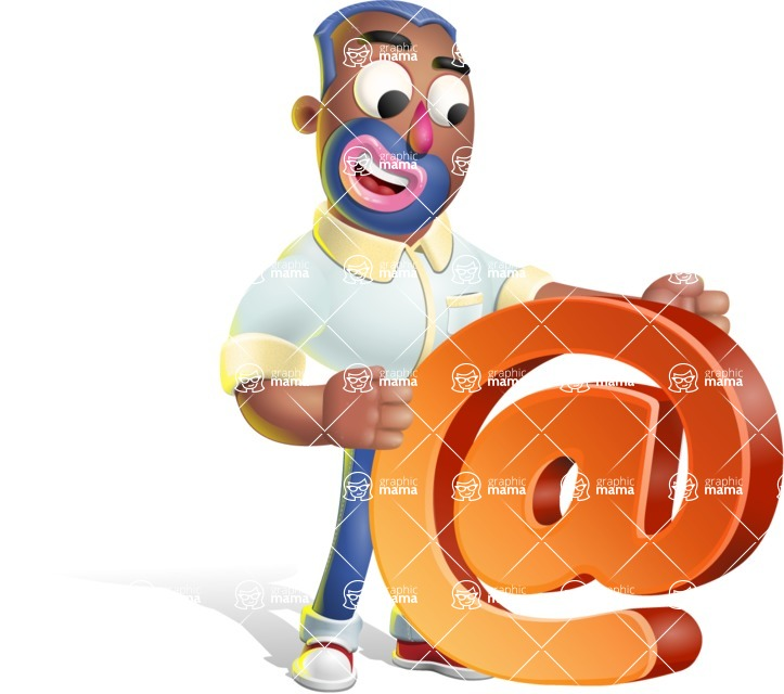 Male African American Cartoon Vector 3D Character AKA Jackson Blue - Email