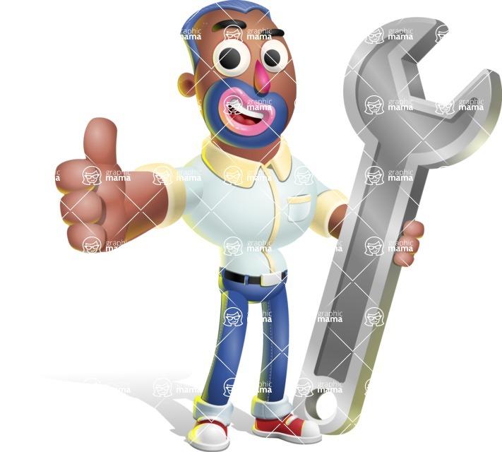 Male African American Cartoon Vector 3D Character AKA Jackson Blue - Repair