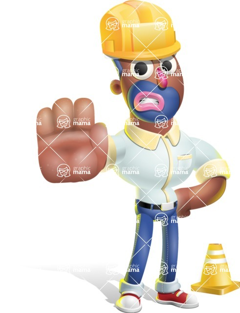 Male African American Cartoon Vector 3D Character AKA Jackson Blue - Under Construction 1