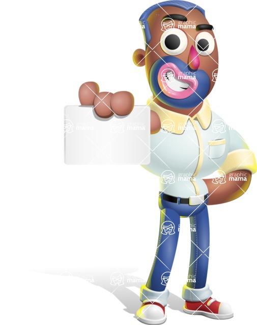Male African American Cartoon Vector 3D Character AKA Jackson Blue - Sign 1