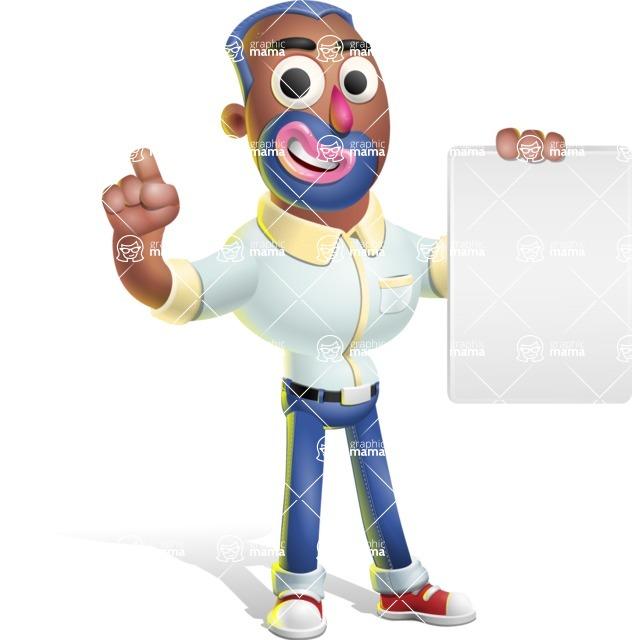Male African American Cartoon Vector 3D Character AKA Jackson Blue - Sign 2