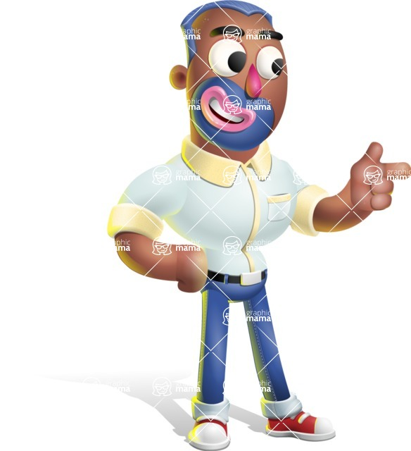 Male African American Cartoon Vector 3D Character AKA Jackson Blue - Point