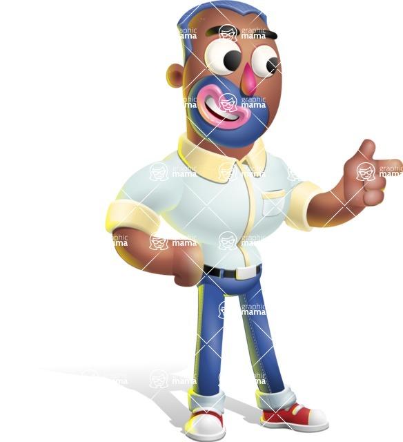 Male African American Cartoon Vector 3D Character AKA Jackson Blue - Point