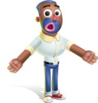 Male African American Cartoon Vector 3D Character AKA Jackson Blue - Stunned