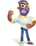 Male African American Cartoon Vector 3D Character AKA Jackson Blue - Angry