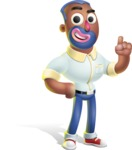Male African American Cartoon Vector 3D Character AKA Jackson Blue - Attention