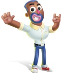 Male African American Cartoon Vector 3D Character AKA Jackson Blue - Hello
