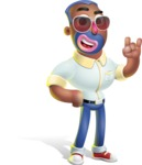 Male African American Cartoon Vector 3D Character AKA Jackson Blue - Sunglasses