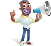 Male African American Cartoon Vector 3D Character AKA Jackson Blue - Loudspeaker