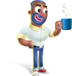 Male African American Cartoon Vector 3D Character AKA Jackson Blue - Coffee