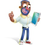 Male African American Cartoon Vector 3D Character AKA Jackson Blue - iPad 3