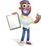 Male African American Cartoon Vector 3D Character AKA Jackson Blue - Notepad 1
