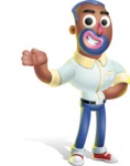 Male African American Cartoon Vector 3D Character AKA Jackson Blue - Showcase 2