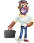 Male African American Cartoon Vector 3D Character AKA Jackson Blue - Briefcase 1