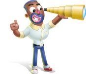 Male African American Cartoon Vector 3D Character AKA Jackson Blue - Telescope