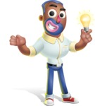 Male African American Cartoon Vector 3D Character AKA Jackson Blue - Idea 1
