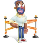 Male African American Cartoon Vector 3D Character AKA Jackson Blue - Under Construction 2