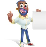 Male African American Cartoon Vector 3D Character AKA Jackson Blue - Sign 2