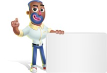 Male African American Cartoon Vector 3D Character AKA Jackson Blue - Sign 7