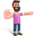 Plasticine Man Cartoon Vector Character AKA Gerald MacBeard - Direct Attention