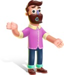 Plasticine Man Cartoon Vector Character AKA Gerald MacBeard - Confused