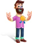 Plasticine Man Cartoon Vector Character AKA Gerald MacBeard - Ribbon