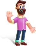 Plasticine Man Cartoon Vector Character AKA Gerald MacBeard - Wave