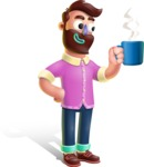 Plasticine Man Cartoon Vector Character AKA Gerald MacBeard - Coffee