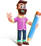 Plasticine Man Cartoon Vector Character AKA Gerald MacBeard - Pencil