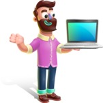 Plasticine Man Cartoon Vector Character AKA Gerald MacBeard - Laptop 3