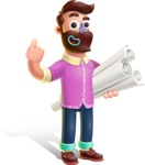 Plasticine Man Cartoon Vector Character AKA Gerald MacBeard - Plans