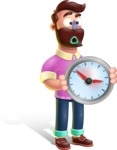 Plasticine Man Cartoon Vector Character AKA Gerald MacBeard - Time is Yours