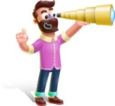 Plasticine Man Cartoon Vector Character AKA Gerald MacBeard - Telescope