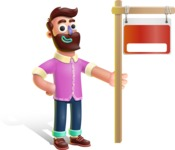 Plasticine Man Cartoon Vector Character AKA Gerald MacBeard - Sign 9