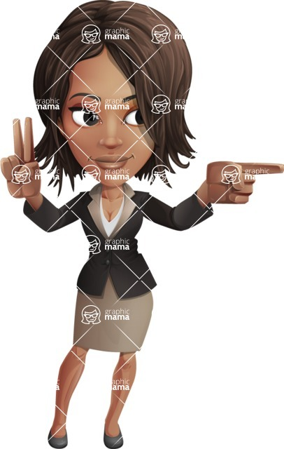 African American female with black coat vector character pack of poses - Kim the Office Lady - Point2