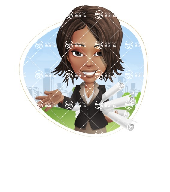 African American female with black coat vector character pack of poses - Kim the Office Lady - Shape3