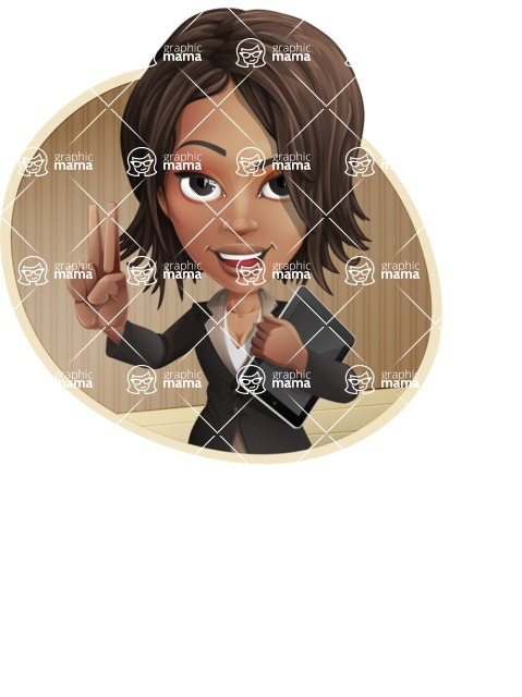 African American female with black coat vector character pack of poses - Kim the Office Lady - Shape4