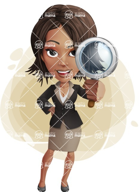 African American female with black coat vector character pack of poses - Kim the Office Lady - Shape9