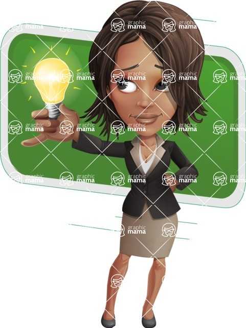 African American female with black coat vector character pack of poses - Kim the Office Lady - Shape10