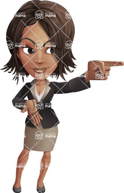 African American female with black coat vector character pack of poses - Kim the Office Lady - Direct Attention2