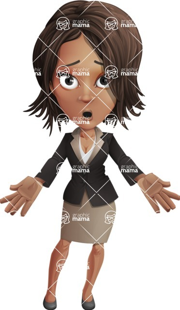 African American female with black coat vector character pack of poses - Kim the Office Lady - Stunned