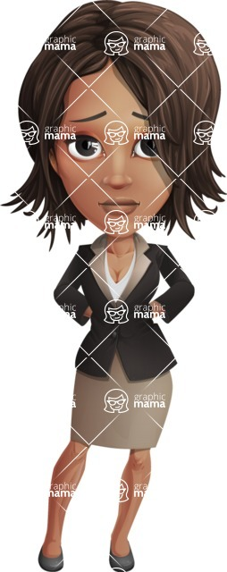 African American female with black coat vector character pack of poses - Kim the Office Lady - Sad