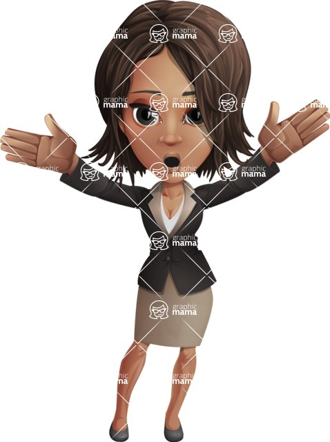 African American female with black coat vector character pack of poses - Kim the Office Lady - Shocked