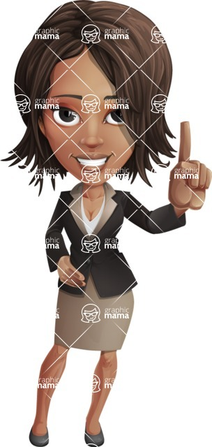 African American female with black coat vector character pack of poses - Kim the Office Lady - Attention